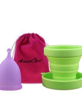 Menstruační sada Aneercare s kalíškem velikosti L (fialový kalíšek)