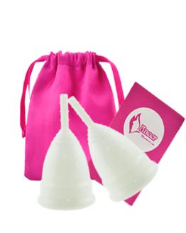 Sada menstruačních kalíšků Aneercare se sáčkem Velikost S+L (bílá)
