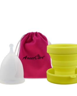 Menstruační sada Aneercare s kalíškem velikosti L (bílý kalíšek)