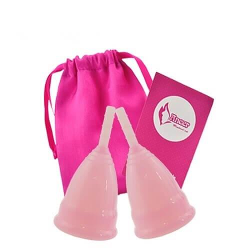 Sada menstruačních kalíšků Aneercare se sáčkem Velikost S+L (růžová)