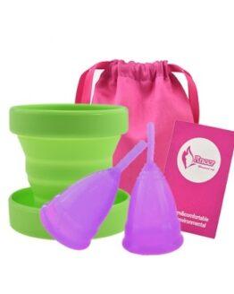 Menstruační sada Aneercare 4v1 s kalíšky S a L (fialový kalíšek)